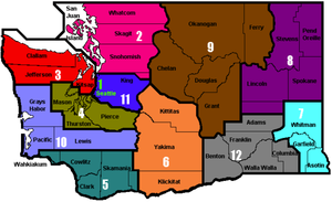 Map of Washington State showing the Districts within the state.
